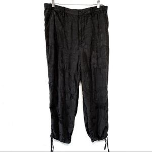 Anthropologie Black Cinch Cropped Pants XL